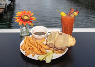 bloody mary, sandwich, and fries