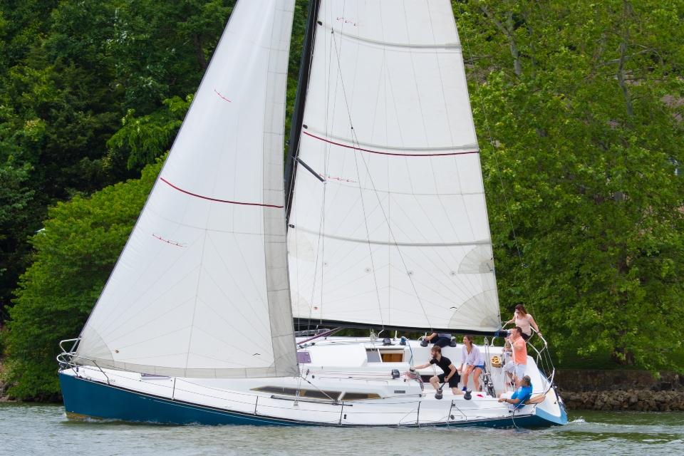 enjoying a day of sailing at Lake of the Ozarks