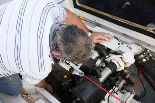 Repairing an engine on boat